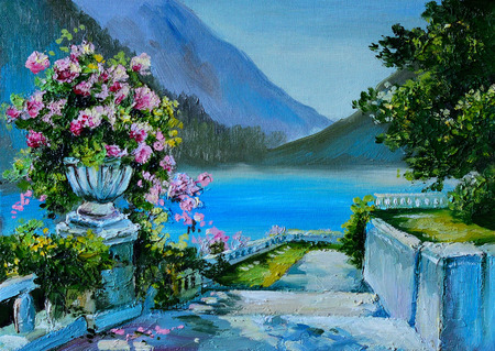 noon: Oil Painting - stone embankment, filled with flowers near the sea, colorful noon, colorful; sea