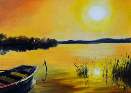 Oil Painting landscape - beautiful lake at colorful sunset, with the boat, made in the style of Impressionism,  coast, summer Stock Photo