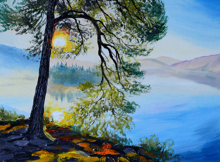 Oil painting landscape - tree near the lake at sunset, autumn, blue; bright