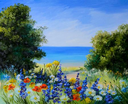 oil painting landscape - field near the sea, wild flowers, artwork, background Foto de archivo