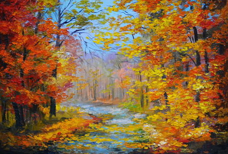 fall landscape: Oil painting landscape - colorful autumn forest, with the trail, with colorful leaves and blue sky, made in the style of impressionism, autumn; forest; outdoor; wallpaper