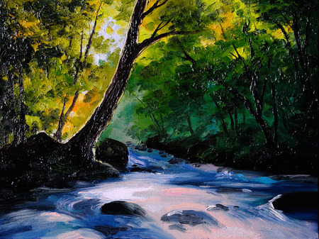 Painting, picture oil painting on a canvas. Landscape, mountain river, abstract drawing, watercolor painting, wallpaper Stock Photo