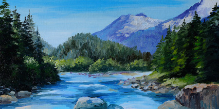 Oil Painting - mountain river, rocks and forest, abstract drawing,  wallpaper; tree; decoration Foto de archivo