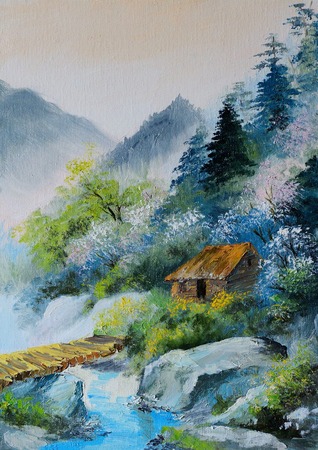 oil painting - landscape in mountains, house in the mountains and forests near the bridge, abstract drawing, outdoor, wallpaper Stock fotó