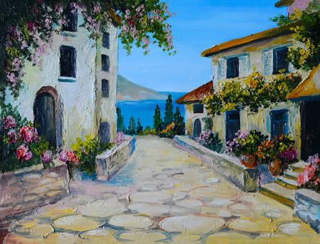 Olieverf op doek van een mooie huizen in de buurt van de zee, abstracte tekening, behang; uit de vrije hand
