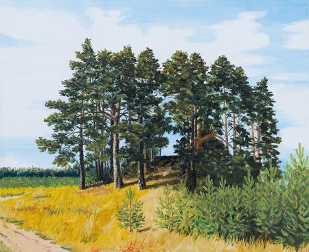 coniferous forest: pintura al �leo - pino en el campo, paisaje ruso, bosques de con�feras, imagen colorida, dibujo abstracto, oto�o; fondo