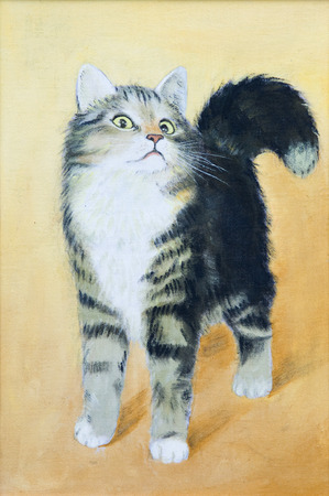 oil painting - drawing of a cat, colorful picture , abstract drawing, wallpaper photo