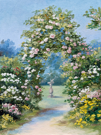 oil painting - floral arch in the summer park, colorful picture , abstract drawing,  colorful; decoration; design Stock Photo