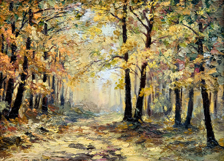 fall landscape: oil painting landscape - autumn forest, full of fallen leaves, colorful picture , abstract drawing, wallpaper; tree; decoration