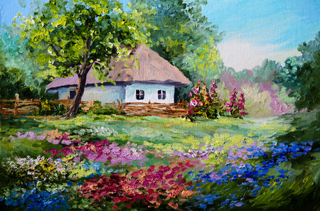 oil painting - house in the village, flowers; landscape