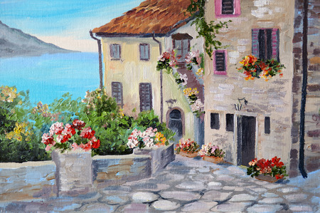 Oil painting on canvas of a beautiful houses near the sea, architecture, city, colorful