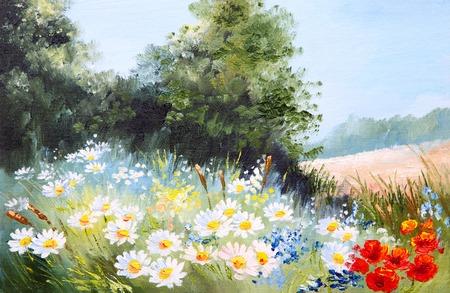 油絵風景 - ヒナギク、自然の草原