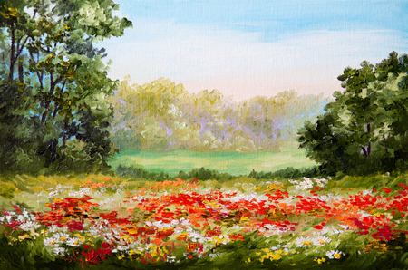 sunset painting: oil painting - poppy field, design, floral, flower