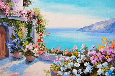 ocean view: oil painting - house near sea, design; field; floral; flower