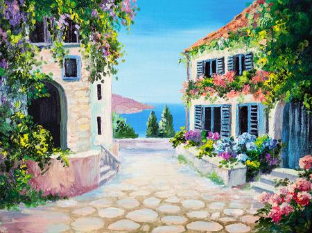 arte greca: pittura ad olio su tela - casa vicino al mare, estate, tela, greco Archivio Fotografico