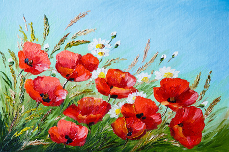 oil painting: oil painting - poppies in the field, flowers, spring