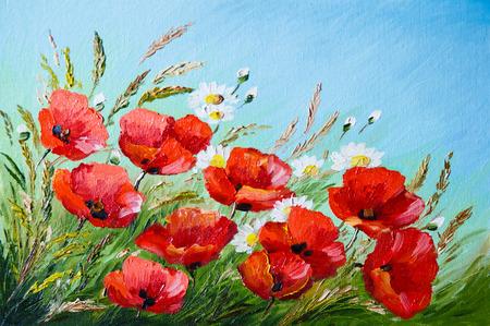 pintura al óleo - amapolas en el campo, las flores, la primavera Foto de archivo