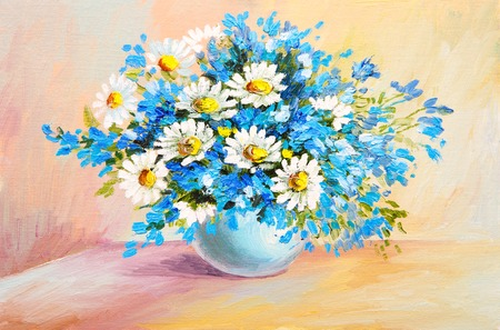 flower arrangement white table: oil painting still life - bouquet of flowers on the table, chamomile