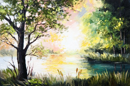 Oil painting landscape - lake in the forest, summer afternoon photo