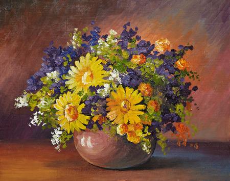 油絵キャンバスにヒナギク、装飾、デザインの花束