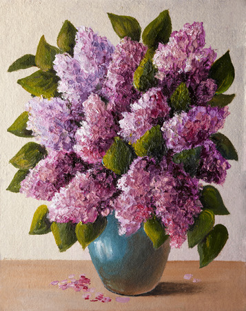 oil painting on canvas - a bouquet of lilacs,  vase, wallpaper Stock Photo