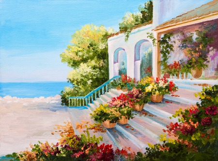 mediterranean house: Oil painting landscape - terrace near the sea, flowers Stock Photo