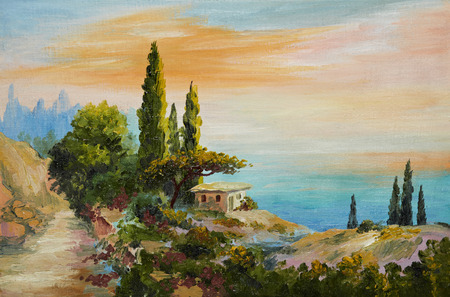 oil lamp: oil painting on canvas - house on the beach, artwork, design, city, blue, panorama Stock Photo