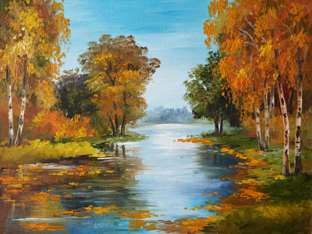 sun oil: oil painting on canvas - river in forest, decoration, stone, natural, park Stock Photo