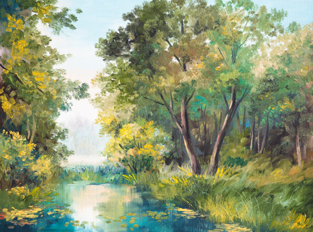 Oil Painting of forest landscape - pond in the forest. Abstract drawing, outdoor, leaves