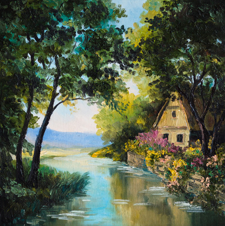artist's canvas: oil painting on canvas - house near the river, tree, wallpaper, water