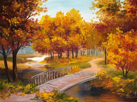 Olieverf - herfst bos met een rivier en de brug over de rivier, heldere rode bladeren, kleurrijke
