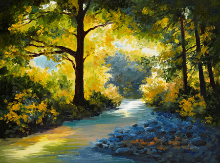 Olieverf - zomer bos, weide met viooltjes, geel, bomen, 's morgens Stockfoto
