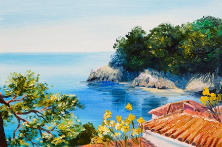 oil painting - house near the sea, summer day Stock fotó