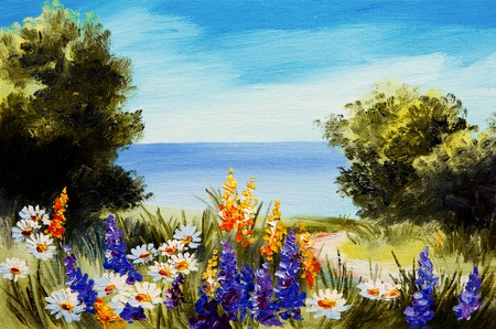 oil painting flowers near the sea, camomile field, sanset