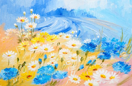 Oil Painting - abstract illustration of flowers, daisies, greens