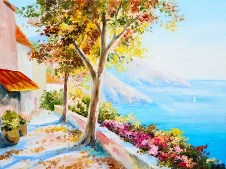 painting - house near the sea, seascap, colorful impressionism