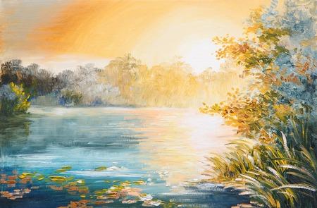 絵画 - 夕暮れの湖、明るい夕日