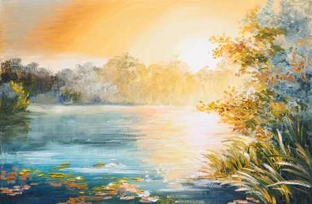 painting - sunset on the lake, bright sunset 版權商用圖片