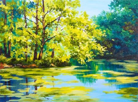 Olieverf landschap - meer in het bos, zomerdag Stockfoto