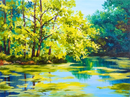 Oil painting landscape - lake in the forest, summer day Foto de archivo