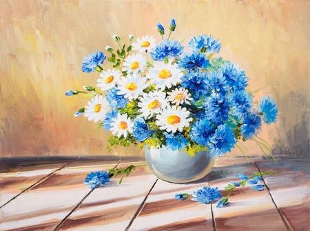 油絵静物、木製のテーブル、美しいヒナギクの花の花束