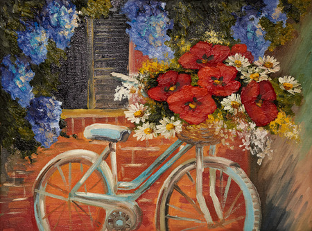 courtyard: oil painting on canvas - flowers near a wall, bike with a bouquet of flowers,  outdoor, medieval