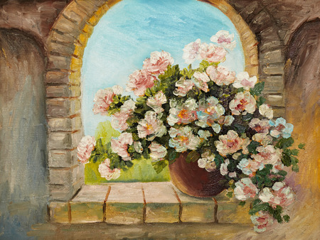 oil painting - bouquet of flowers on a stone sill , abstract drawing, performed in the style of Impressionism, decoration,  garden, design Foto de archivo