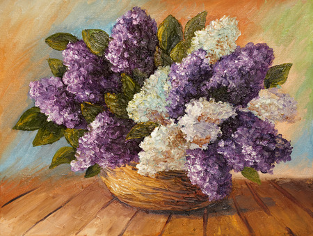 peinture à l'huile sur toile, beau bouquet de lilas sur une table en bois sur fond abstrait, vase, papier peint