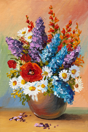 Oil painting of spring flowers in a vase on canvas. Abstract drawing, color, colorful, decoration, design Stock Photo
