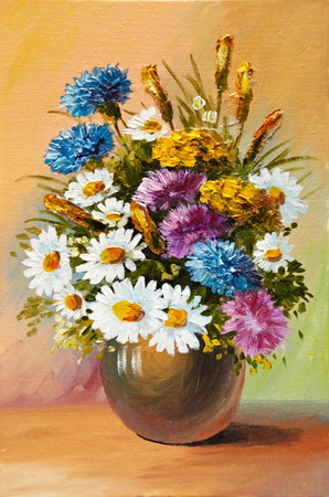 colorful still life: Oil painting of spring flowers in a vase on canvas. Abstract drawing,  decoration,  design, bouquet