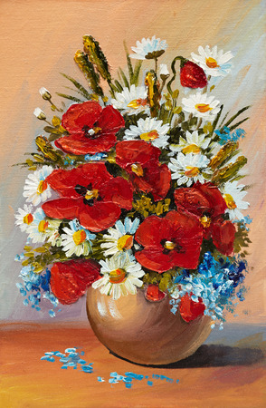 vases: Oil painting of spring flowers in a vase on canvas. Abstract drawing, beautiful, beauty, blossom