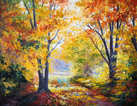 fall landscape: oil painting on canvas - autumn forest, abstract, season, modern