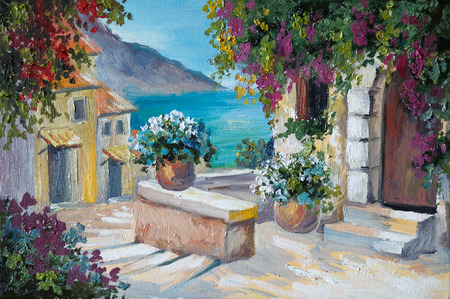 oil painting on canvas - beautiful houses and stairs near the sea, abstract drawing, street, wall, color