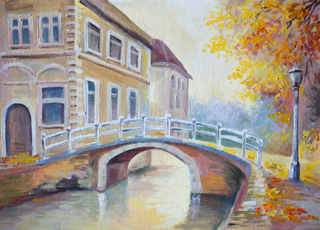 Oil painting on canvas - bridge over the river in the old Europe, italian town